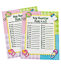 "24 ""Baby Necessities From A To Z"" Baby Shower Game #42/2914"