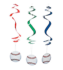 12 Baseball Hanging Swirl Decorations #42/4179
