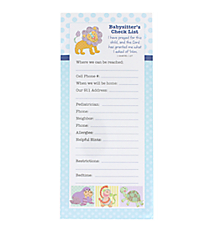 Blue Baby Love Babysitter's Check List with Scripture #43559