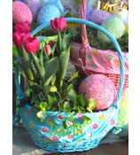 Blue Spring Fling Wicker Basket #9713231
