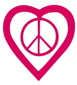 Peace Heart Vinyl Decoration SY#43 * Choose Your Color