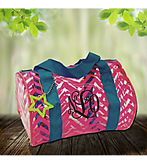Fuchsia Chevron with Turquoise Trim Mini Duffle Bag #44011