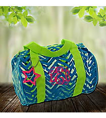 Turquoise Chevron with Lime Trim Mini Duffle Bag #44012