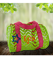 Citrus Chevron with Pink Trim Mini Duffle Bag #44013