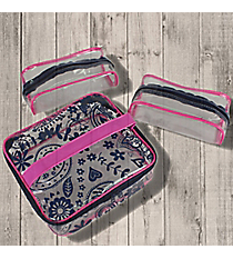Fuchsia and Navy Paisley Cosmetic Case Trio #44024et #26171
