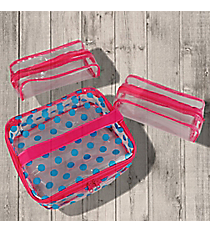 Hot Pink and Blue Polka Dot Cosmetic Case Trio #44026