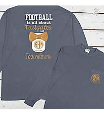 Tailgates and Touchdowns Mason Jar Monogram Comfort Colors Long Sleeve Pocket Tee #4410 *Personalize It!