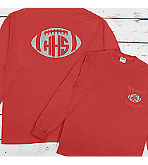 Football with School Initials Comfort Colors Long Sleeve Pocket Tee #4410 *Personalize Your Text and Colors
