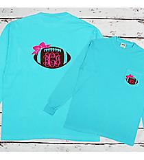 Football Bow Monogram Comfort Colors Long Sleeve Pocket Tee #4410 *Choose Your Colors