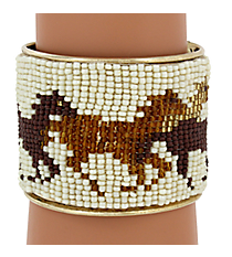 Multi-Brown Horse Seed Bead Cuff Bracelet #JB4410-BRMT