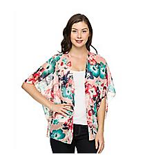 Floral Surprise Kimono, Coral #26C-28939-117 *Choose Your Size
