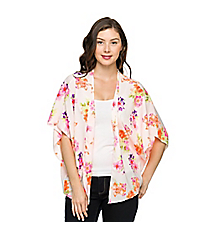 Flowing Floral Kimono, Off White #27C-28939-106 *Choose Your Size