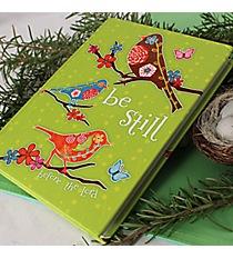 "Green with Birds ""Be Still"" Hardcover Journal #44181"