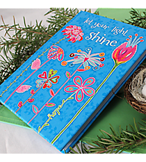 "Blue with Flowers ""Let Your Light Shine"" Hardcover Journal #44198"