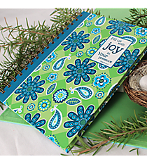 "Blue & Green Floral ""Fill us with Joy"" Spiral Bound Journal #44327"