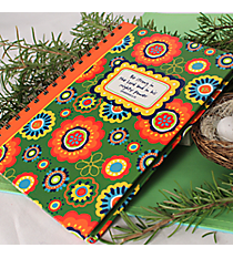 "Orange & Green Floral ""Be Strong in the Lord"" Spiral Bound Journal #44334"