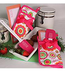 Pink, Orange & Green Flower Doodles Psalm 34:8 Pot Holder Gift Set #44457