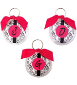 Diva Damask Round Acrylic Key Tag #991 Choose your Initial