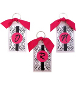 "Diva Damask with Initial 3"" Acrylic Keytag #979 Choose Your Initial"