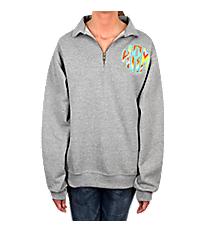 Circle Monogram Applique Adult Quarter Zip Pullover #4528 *Customizable