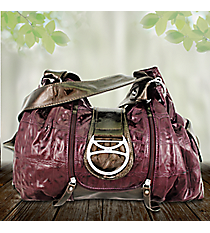 Plum Croco Leather Buckle Shoulder Bag #KTI4579-PLUM