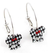 "1.5"" Houndstooth Elephant Hoop Earrings #QE1217-HT"