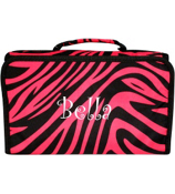 Fuchsia Zebra with Black Trim Roll Up Cosmetic Bag #CB01-163-B/F