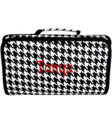 Houndstooth with Black Trim Roll Up Cosmetic Bag #CB01-606-B/W