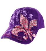 Purple Bling Fleur de Lis Distressed Cap #T12NEW01-PUR