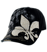 Black Bling Fleur de Lis Distressed Cap #T12NEW01-BLK