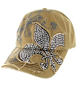 Khaki Bling Fleur de Lis Distressed Cap #T12NEW01-KHK