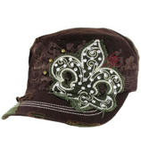 Dark Brown Distressed Fleur de Lis Cadet Cap #T21NEW06-DBR