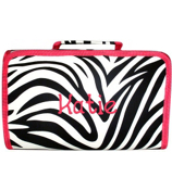 Zebra with Fuchsia Trim Roll Up Cosmetic Bag #CB01-163-F