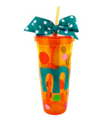 Orange 24 oz. Double Wall Polka Dot Tumbler with Turquoise Initial #TM0701-OR-B *Choose Your Initial