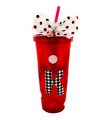 Red 24 oz. Double Wall Red & White Polka Dot Tumbler with Houndstooth Initial #TM0701-RD-B *Choose Your Initial