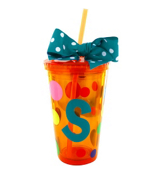 Orange 16 oz. Double Wall Polka Dot Tumbler with Turquoise Initial #MG112-OR-B *Choose Your Initial