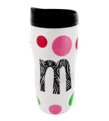 White 16 oz. Double Wall Polka Dot Travel Mug with Zebra Initial #MG04-WT-B *Choose Your Initial