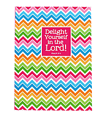 "Multi-Color Chevron ""Delight Yourself in the Lord"" Hardcover Journal #47243"