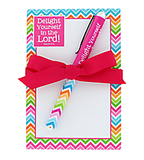"Multi-Color Chevron ""Delight Yourself in the Lord"" Notepad Gift Set #47274"