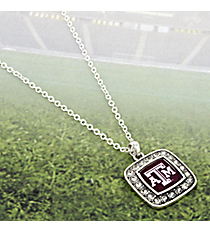 "18"" Crystal Accented Texas A&M University Square Pendant Necklace #47275-TEXASAM"