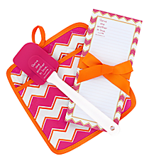 Pink, Orange & White Chevron Galatians 5:13 Pot Holder Gift Set #47564