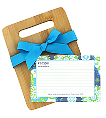 Blue & Green Floral Galatians 5:13 Bamboo Cutting Board Gift Set #47755