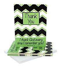 Black, White, & Green Chevron Philippians 1:3 Thank You Notecards #47809