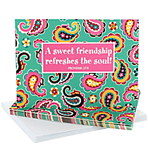 "Mint Paisley ""Sweet Friendship"" Notecards #47823"
