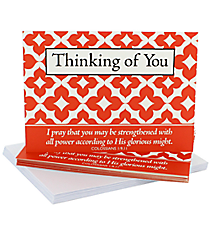 Red & White Quadrafoil Colossians 1:9-11 Thinking of You Notecards #47830