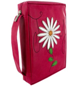 Pink Faux Leather Joy with Applique Flower Bible Cover #BBL418