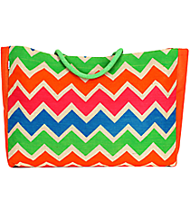 Multi-Color Chevron Juco Tote #48141