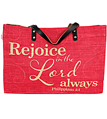 """Rejoice in the Lord Always"" Jute Tote #48172"