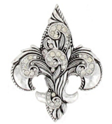 Scroll and Crystal Fleur de Lis Pendant #AP0171-SBC