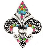 Scroll and Multi-Color Crystal Fleur de Lis Pendant #AP0175-ASMT